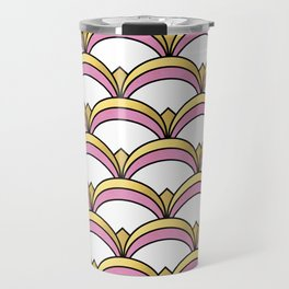 Pink and Gold Art Deco Pattern Travel Mug