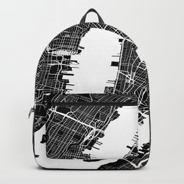 Black City Map of New York City, USA Backpack