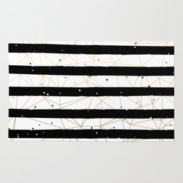 Vintage Black and White Stripes Gold Geometric Pattern Rug