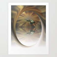 Heron Moonfall Art Print
