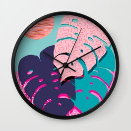 Mega - throwback memphis 1980's 80's 80s style art print bright colorful happy plants nature chic Wall Clock