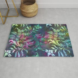Jungle Floral Abstract Pattern In Jeweled Rainbow Tones Rug