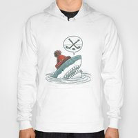 hockey Hoodies featuring Hockey Shark by Nick Volkert