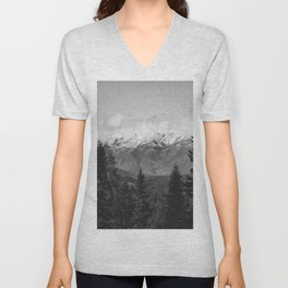 Snow Capped Sierras - Black and White Nature Photography Unisex V-Neck