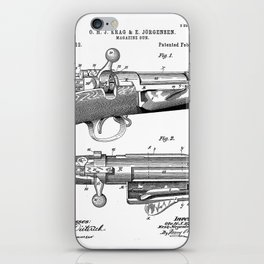 Bolt Action Rifle Patent - Repeating Receiver Art - Black And White iPhone Skin