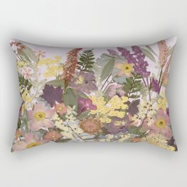 Pressed Flower English Garden Rectangular Pillow