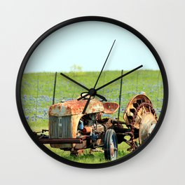 Old Tractor & Bluebonnets Wall Clock