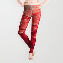 MERMAID SCALES 4 Red Vibrant Ocean Waves Splash Crimson Strawberry Summer Ombre Abstract Painting Leggings