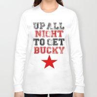 bucky barnes Long Sleeve T-shirts featuring Up All Night Bucky Barnes by BethTheKilljoy