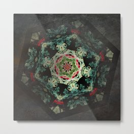 Dark forest mosaic kaleidoscope Metal Print