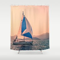 racing Shower Curtains featuring  Yacht racing by Svetlana Korneliuk