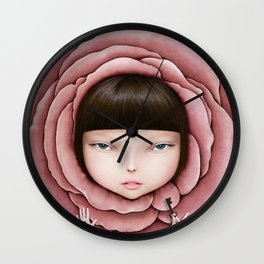head of girl in rose petal with key in his hand Wall Clock