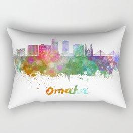 Omaha V2  skyline in watercolor  Rectangular Pillow