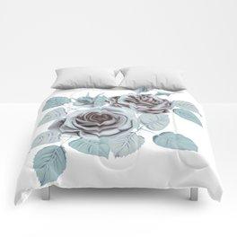 Winter roses stylized vintage art Comforters