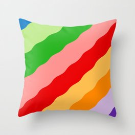 Multicolored Rainbow Bumpy Stripes Throw Pillow