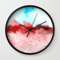 minerals Wall Clocks featuring Pink Minerals by Jessielee