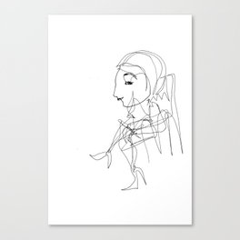 She wanted to sit down for a break, but her legs were too long Canvas Print