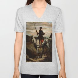 "Honoré Daumier ""Don Quixote in the Mountains"" Unisex V-Neck"