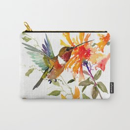 Hummingbird and Orange Floral Design, tropical Hawaiian Colors Carry-All Pouch