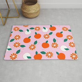 Fresh Orange Pattern on Rose Colored background  Rug