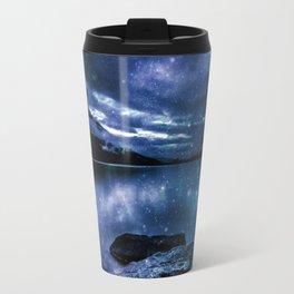 Magical Mountain Lake Indigo Teal Travel Mug