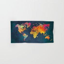 World Map blue #world #map Hand & Bath Towel
