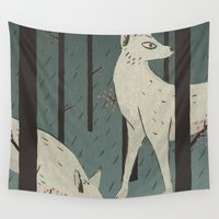 wolves Wall Tapestries featuring Wolves by James White