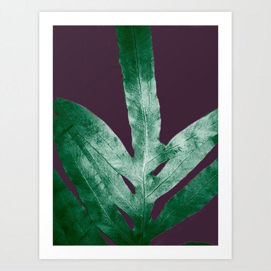 Green Fall Fern Purple Art Print