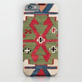 Red Diamond Arrow Konya // 19th Century Authentic Colorful Blue Green Cowboy Accent Pattern iPhone Case