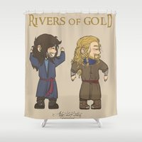 fili Shower Curtains featuring Rivers of Gold by AlyTheKitten