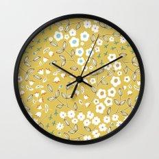 Ditsy Mustard Wall Clock