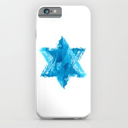 Star of David Blue Watercolor iPhone Case