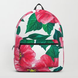 Pink Hibiscus Pattern Backpack