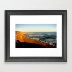 Sunset glowing on the limestone Cliffs Framed Art Print