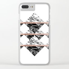 Modern Chic Black White Marble and Rose Gold Strip Clear iPhone Case