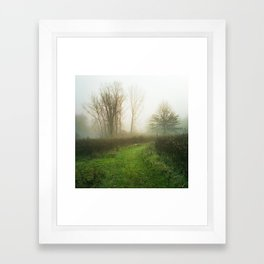 Beautiful Morning - Autumn Field in Fog Framed Art Print