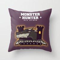 monster hunter Throw Pillows featuring Monster Hunter All Stars - Schrade Legends by Bleached ink