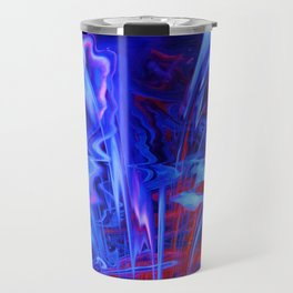 Whimsical Display of Blue Travel Mug