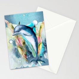 Watercolor Under Sea Collection: Dolphin Stationery Cards