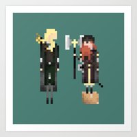 legolas Art Prints featuring Legolas & Gimli by LOVEMI DESIGN