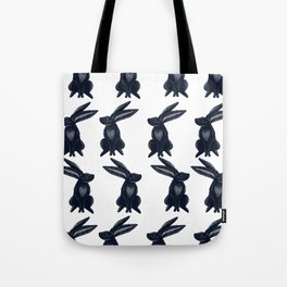 Rabbit Galore Pattern in Dark Blue and White Tote Bag