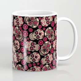 Flower Skulls - Skull pattern day of the dead mexico flowers Coffee Mug