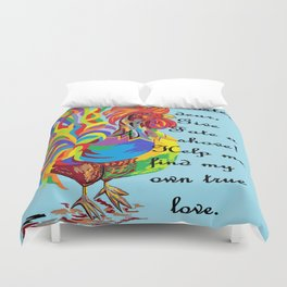 German Folklore Roosters and Husbands Duvet Cover