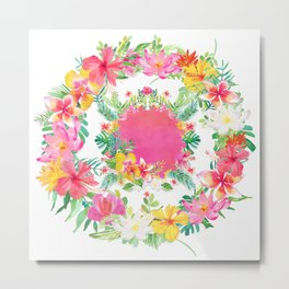 Aloha Tropical Flowers Circle Metal Print