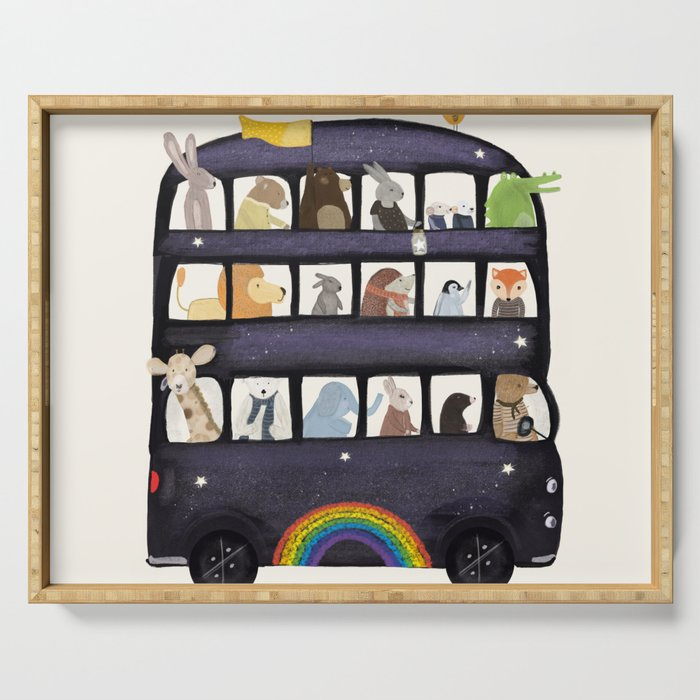 the rainbow bus Serving Tray