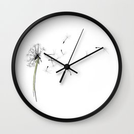 dandelion on the fish - flowers in the breeze Wall Clock