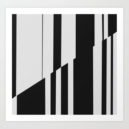 Geometric Abstract #10 Black and White Stripes Art Print