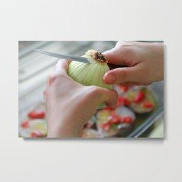 Cutting an onion Metal Print