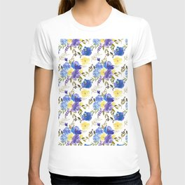 Pastel yellow blue lavender watercolor elegant floral T-shirt