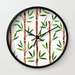 Bamboo Stems – Green Leaves Wall Clock